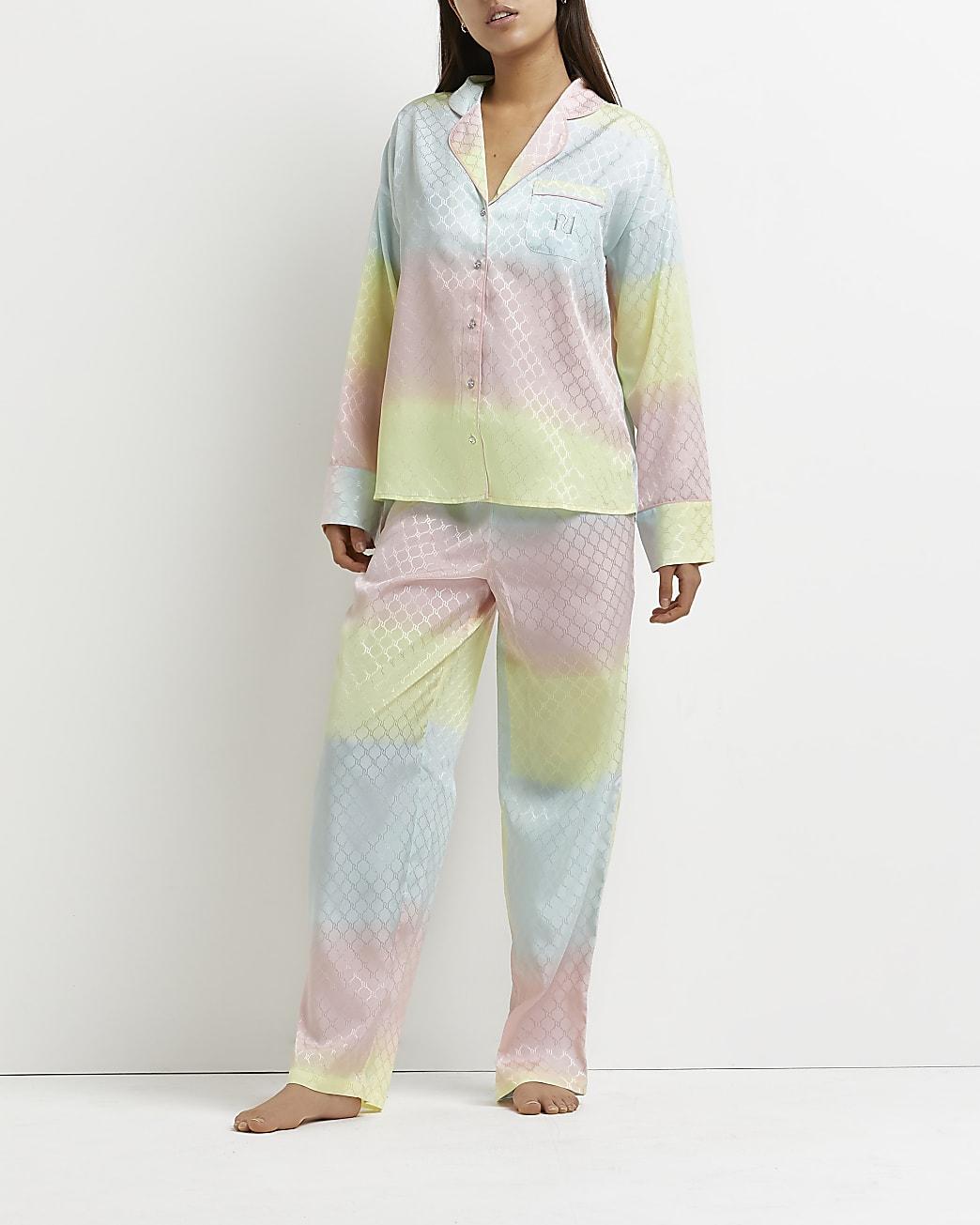 Pink ombre satin pyjama set