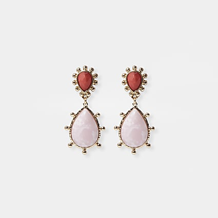 Pink ombre stone drop earrings