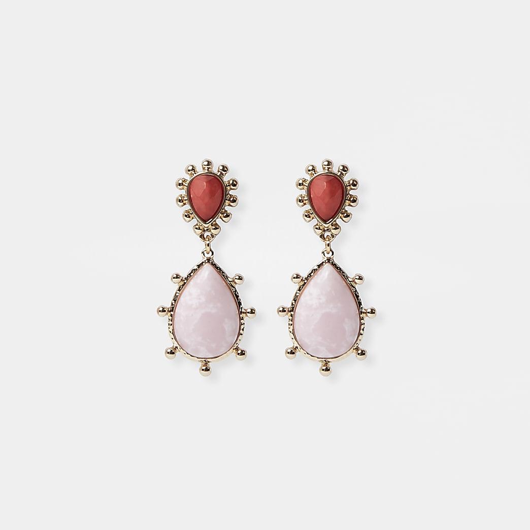 Pink ombre stone drop earrings