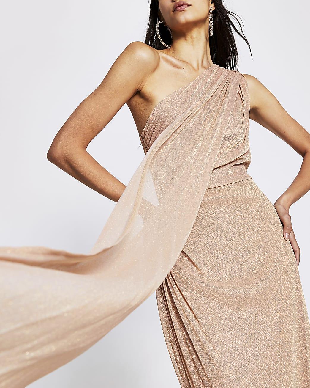 Pink one shoulder maxi dress