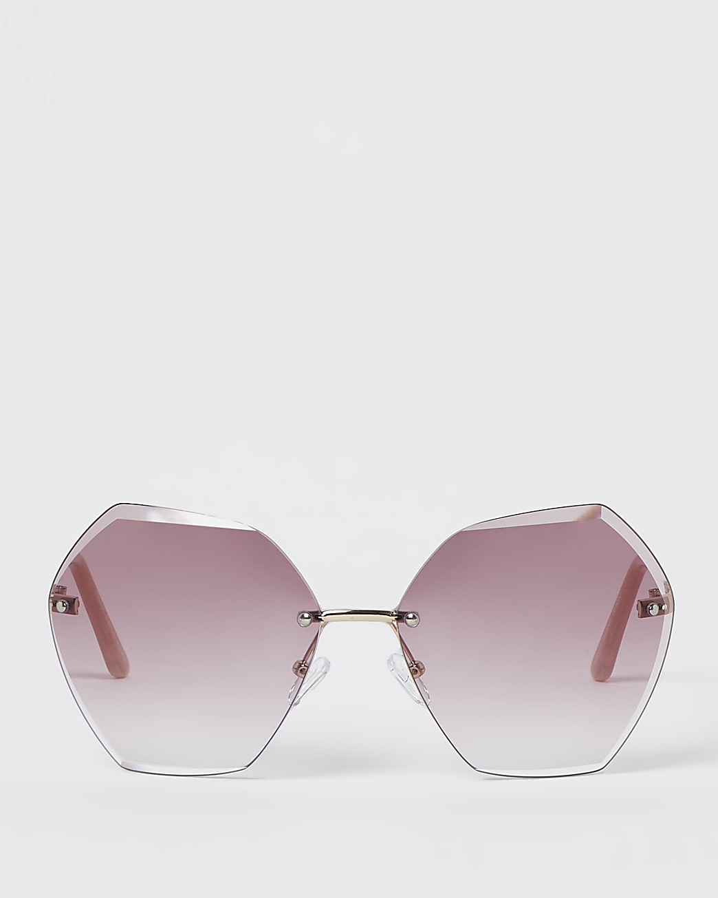 Pink oversized bevelled rimless sunglasses