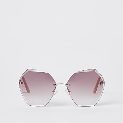 Pink oversized bevelled rimless sunglasses