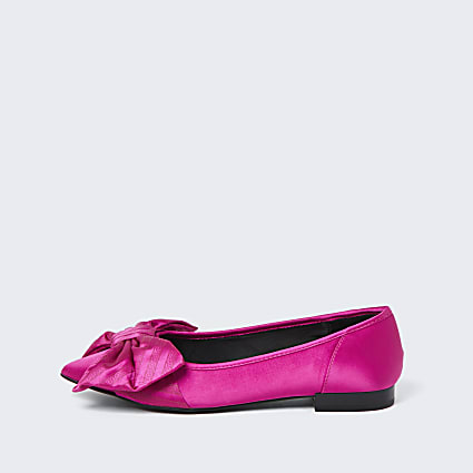 Pink oversized bow flat shoes