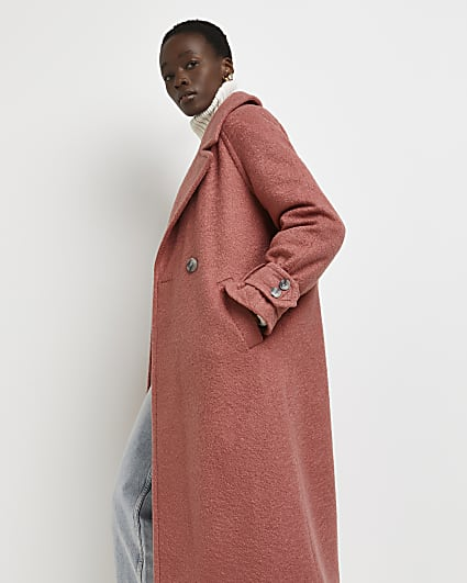 Pink oversized double breasted coat