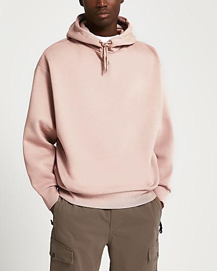Pink oversized long sleeve hoodie