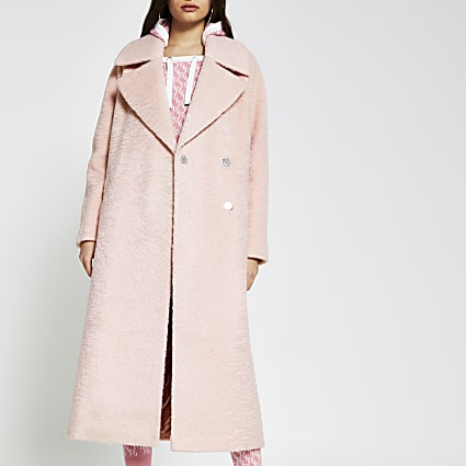Pink oversized longline coat