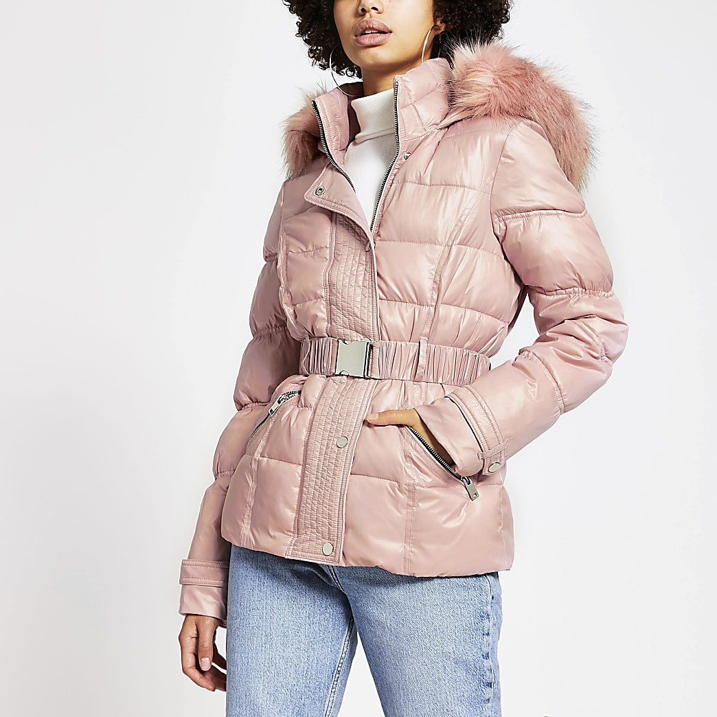 Pink padded faux fur hood belted jacket