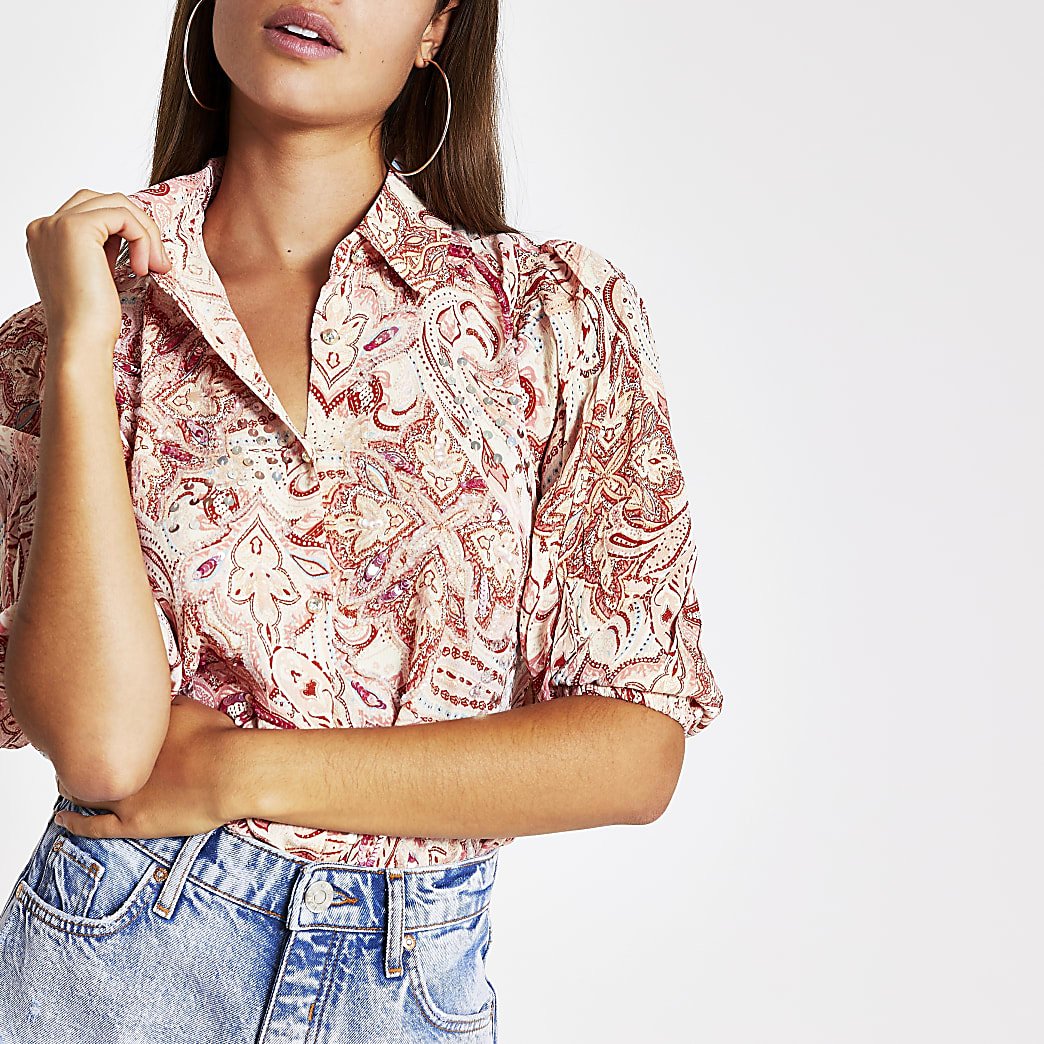 Pink paisley embellished shirt