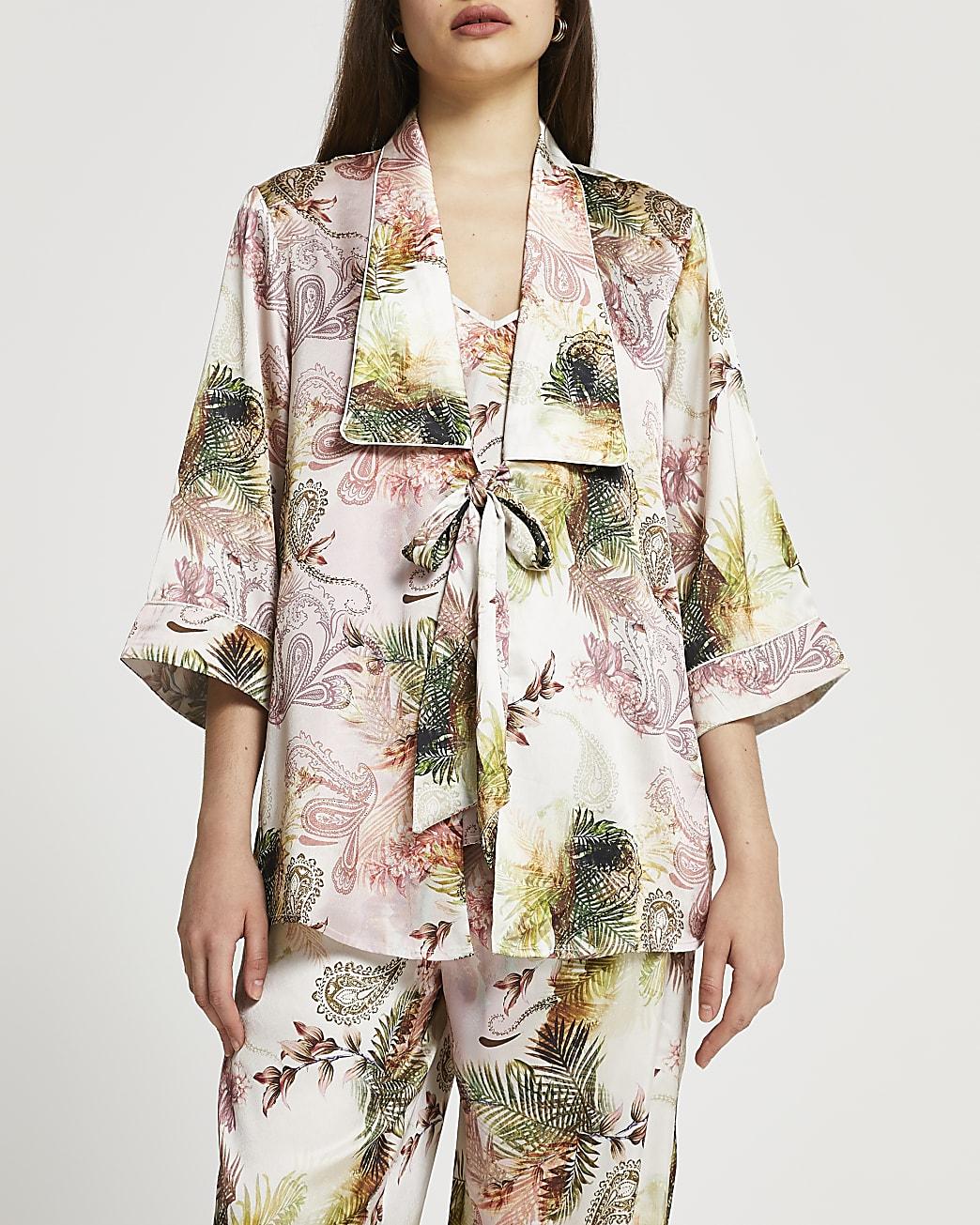 Pink paisley print kimono robe