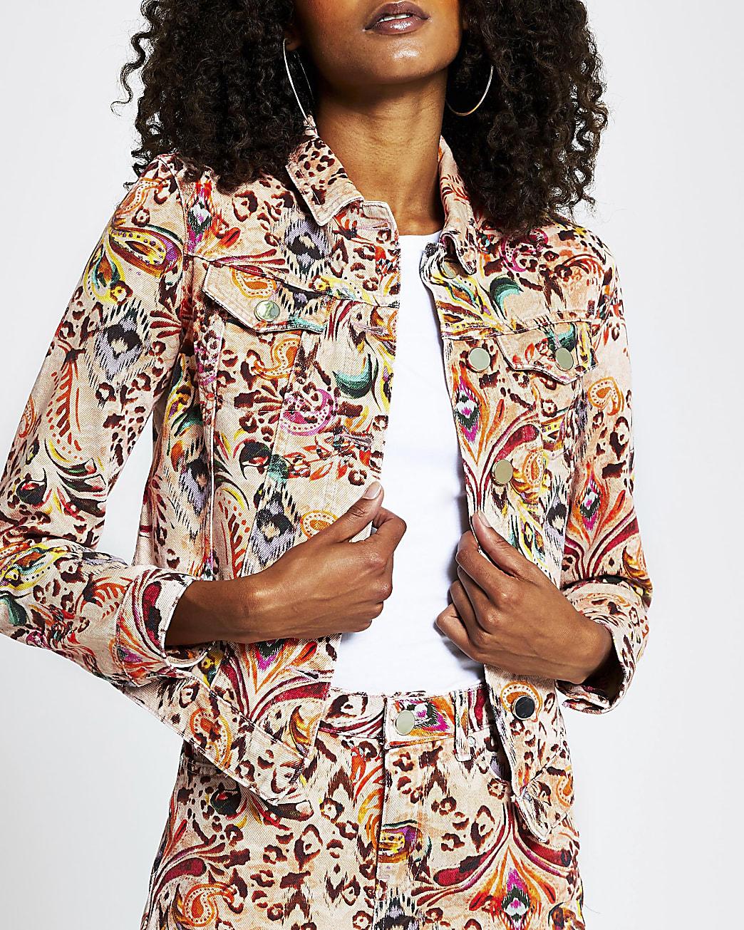 Pink paisley print long sleeve denim jacket