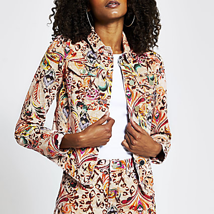 Pink paisley print long sleeve denim jacket