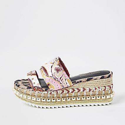 Pink paisley print wedge heel mules