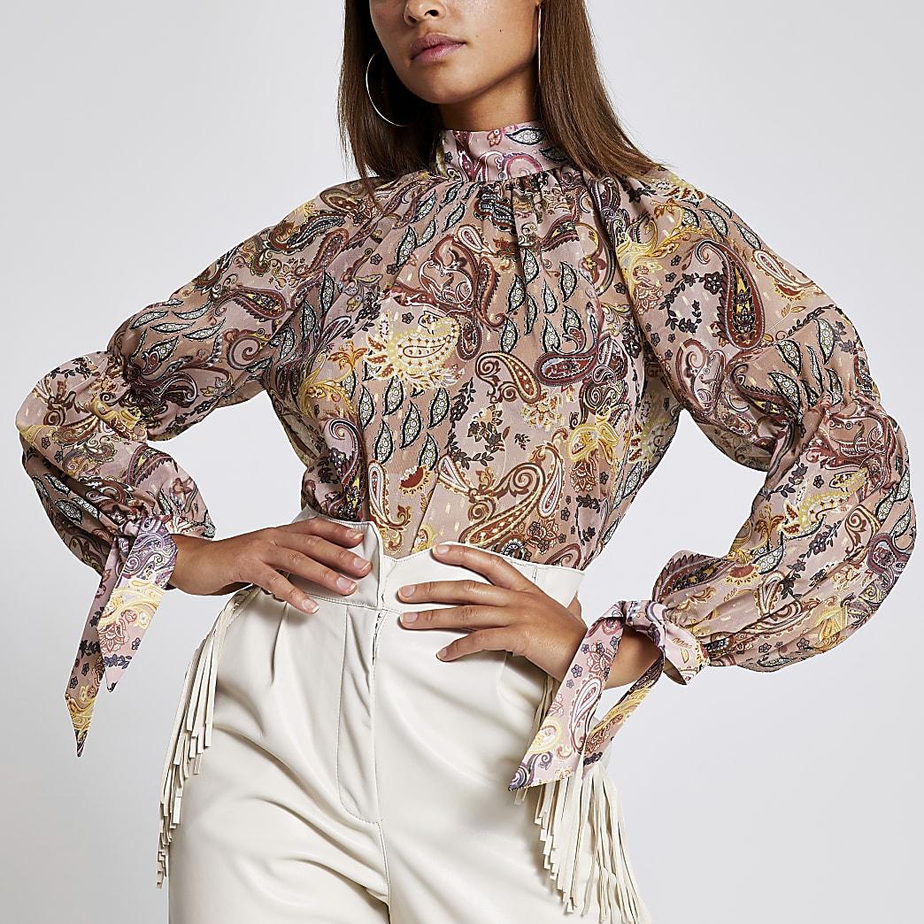 Pink paisley printed long sleeve blouse
