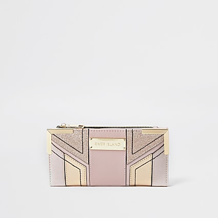 Pink Panel metal corner fold out purse