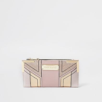 Pink Panel metal corner fold out purse