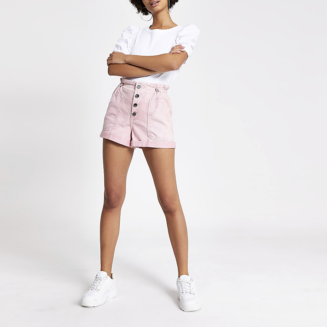 Pink paperbag button front denim shorts
