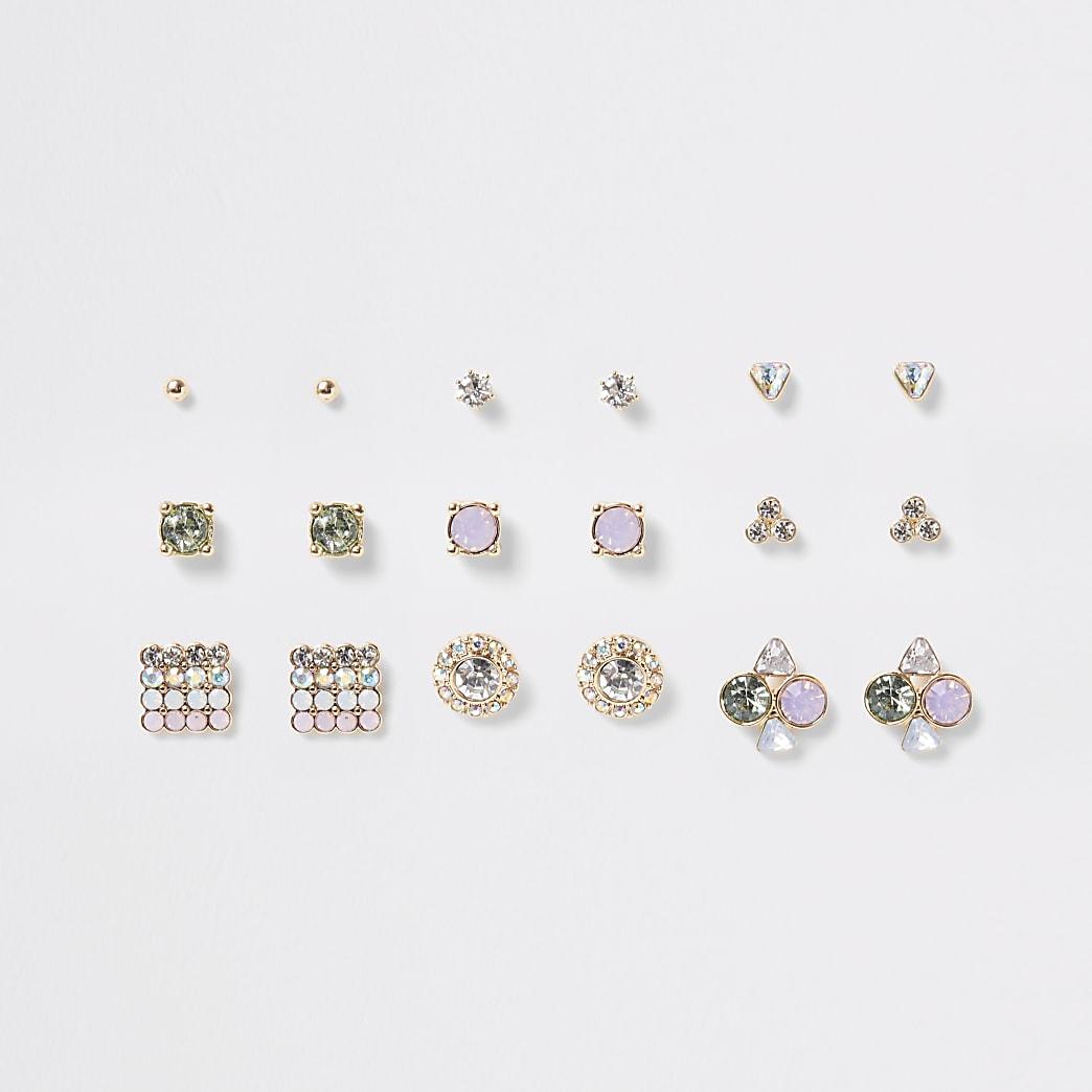 Pink pastel gem stud earrings mulitpack