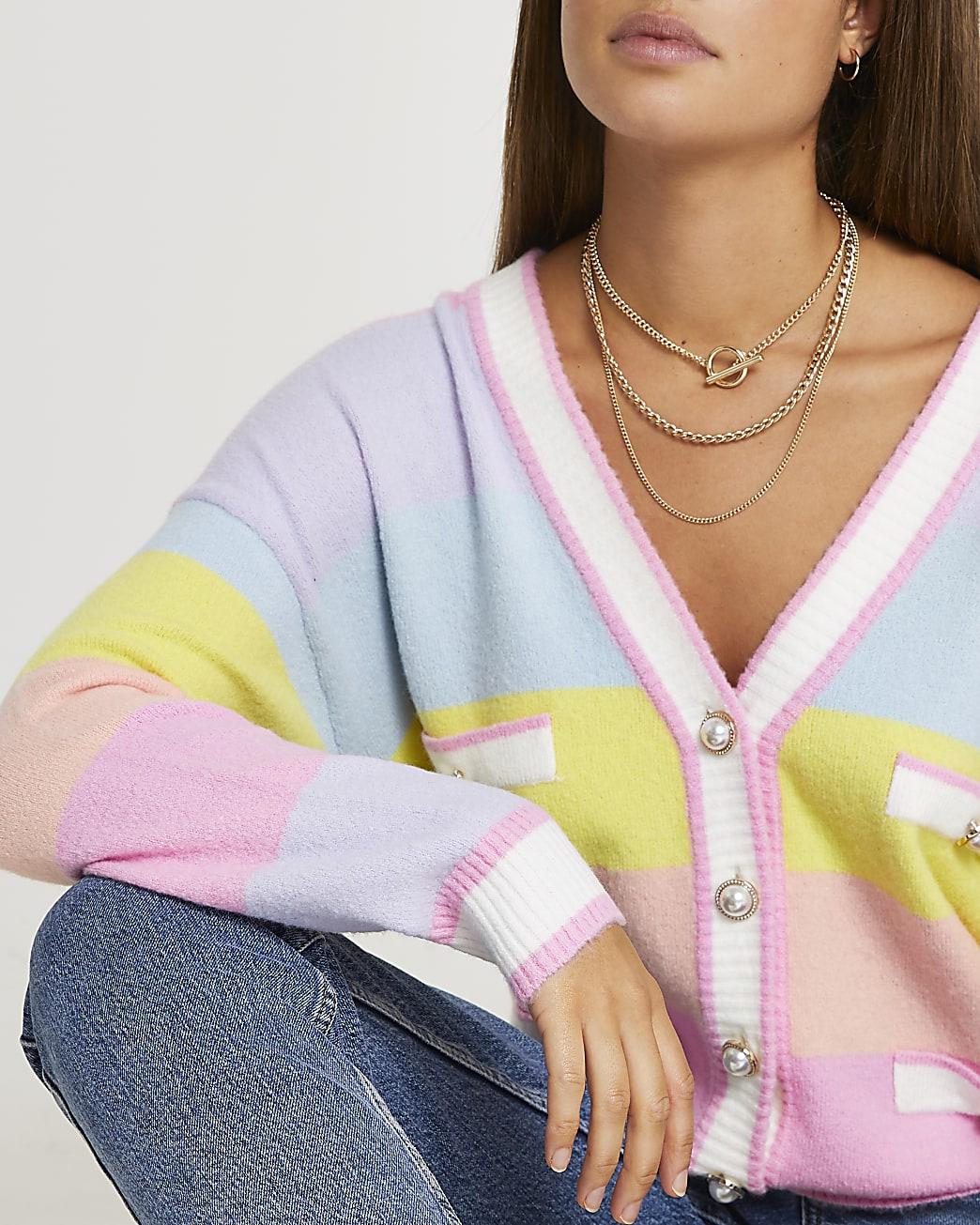 Pink pastel stripe cardigan