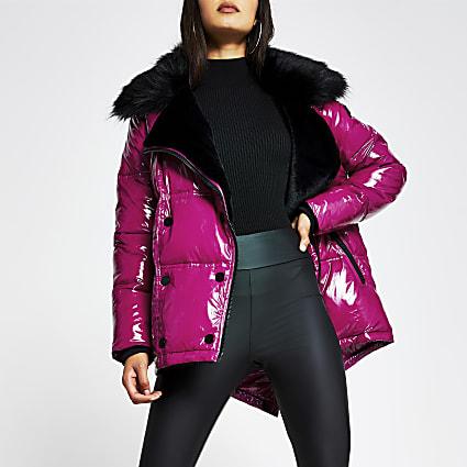 Pink patent aviator faux fur puffer jacket