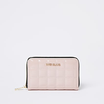 Pink patent mini quilted purse