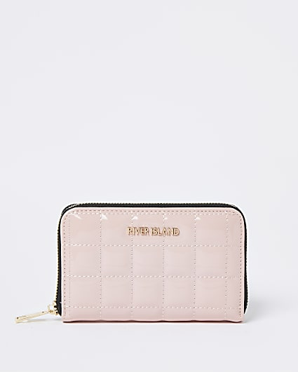 Pink patent quilted purse