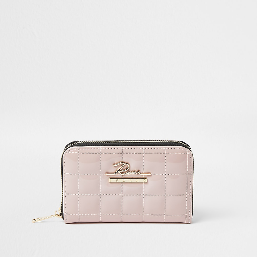 Pink patent quilted ziparound purse