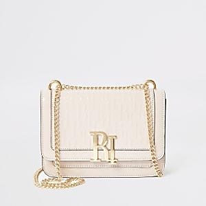 Pink patent RI embossed satchel bag
