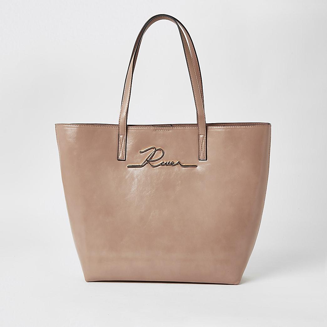 Pink patent 'River' shopper tote bag