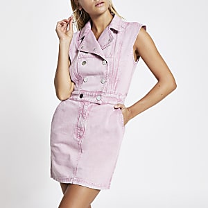 Pink peaked shoulder denim mini dress