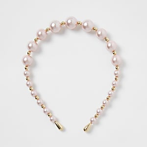 Pink pearl and gold bead alice band