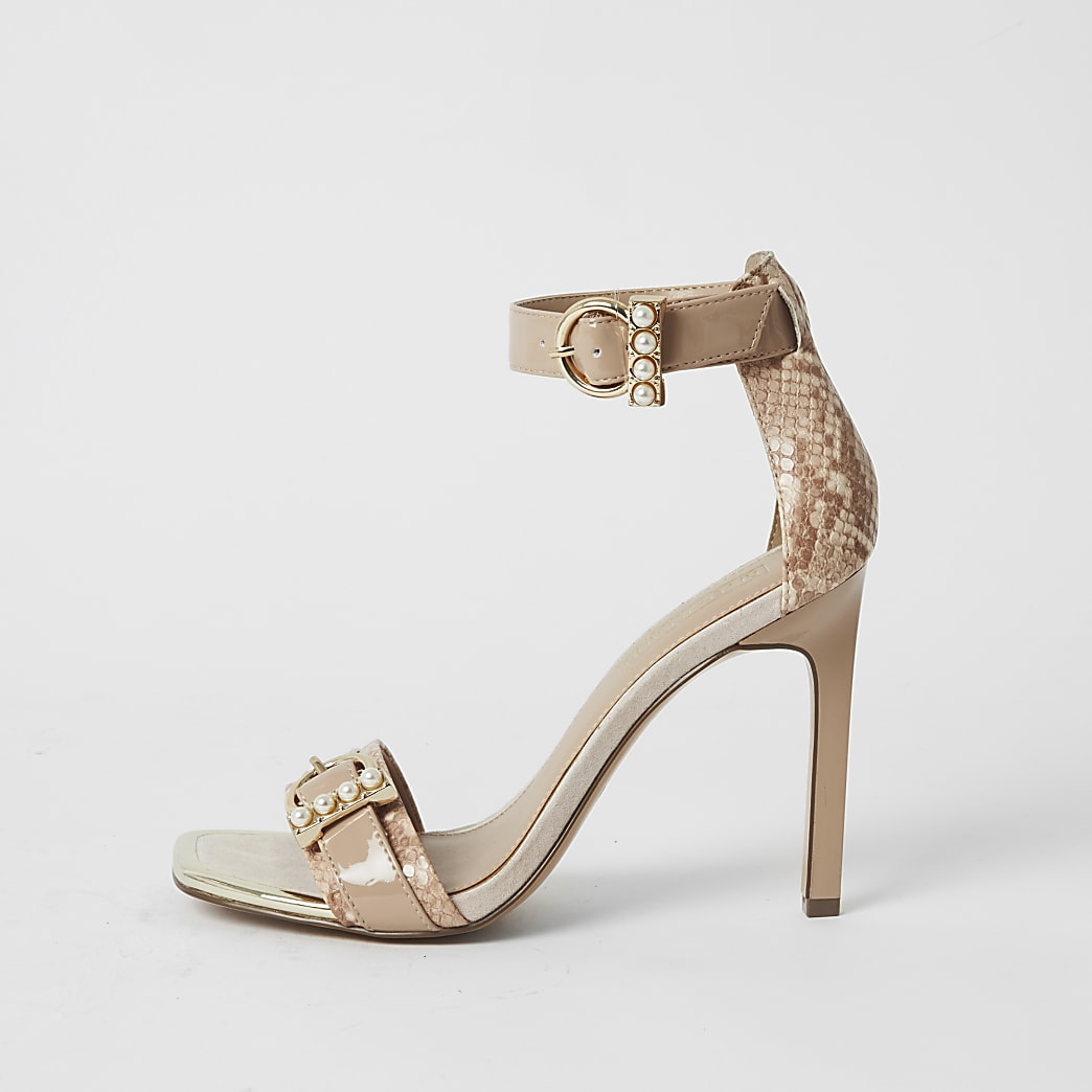 Pink pearl buckle strap barely there sandals