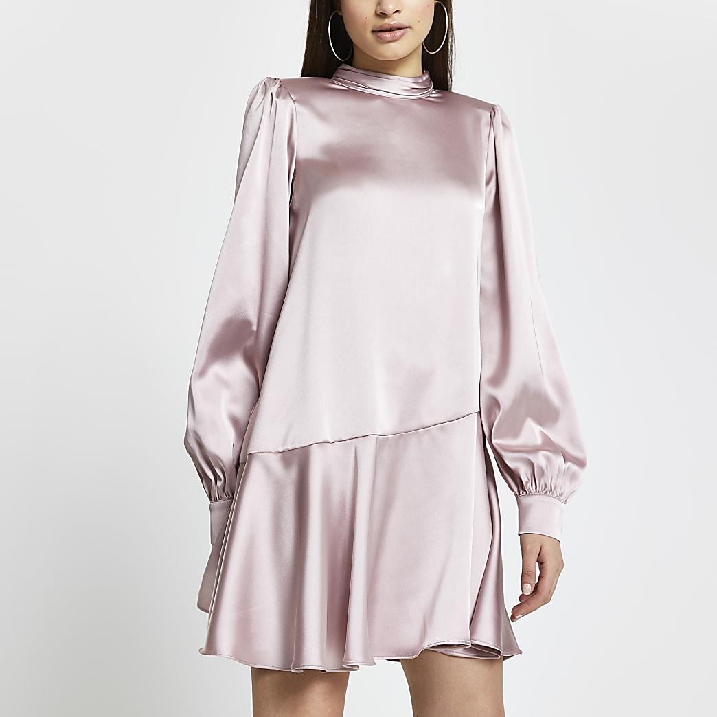 Pink peplum hem shift mini dress