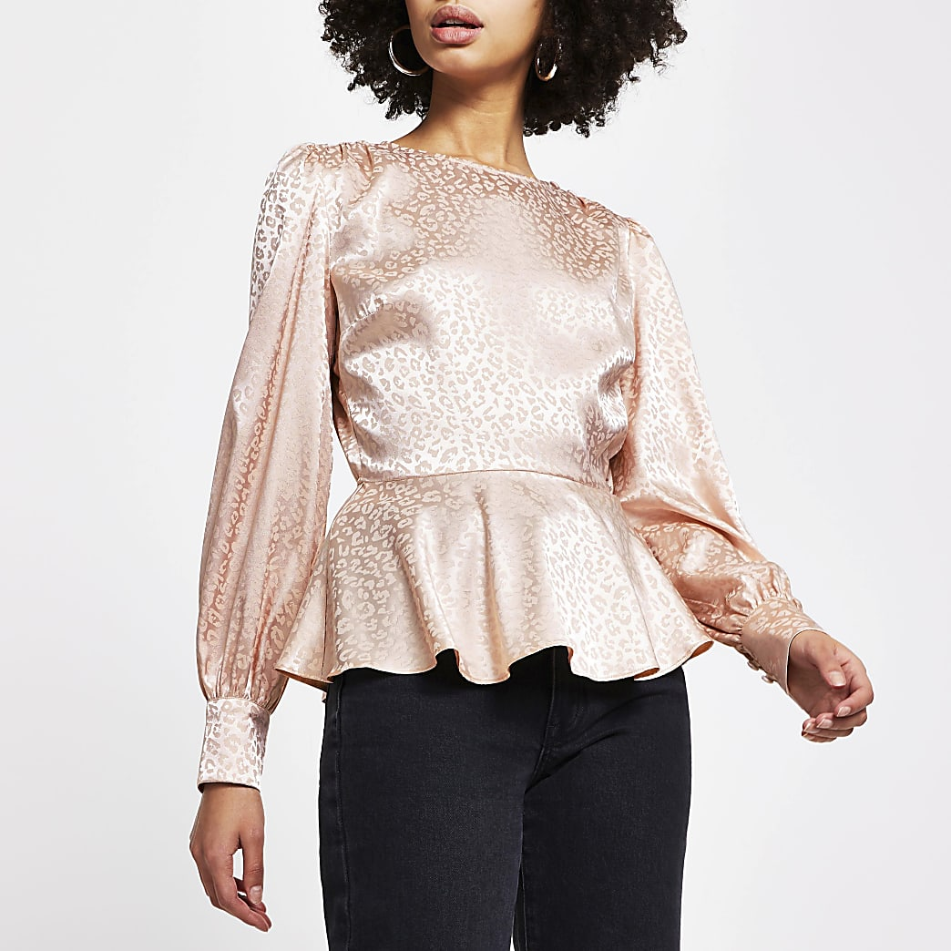 Pink peplum jacquard long sleeve blouse top