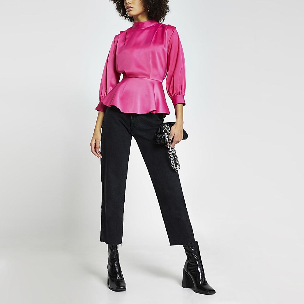 Pink peplum pleated shoulder long sleeve top