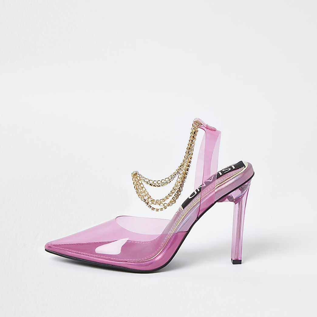 Pink perspex gold chain court heels