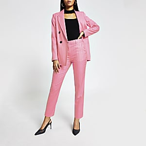 Roze smaltoelopende broek met krijtstreep