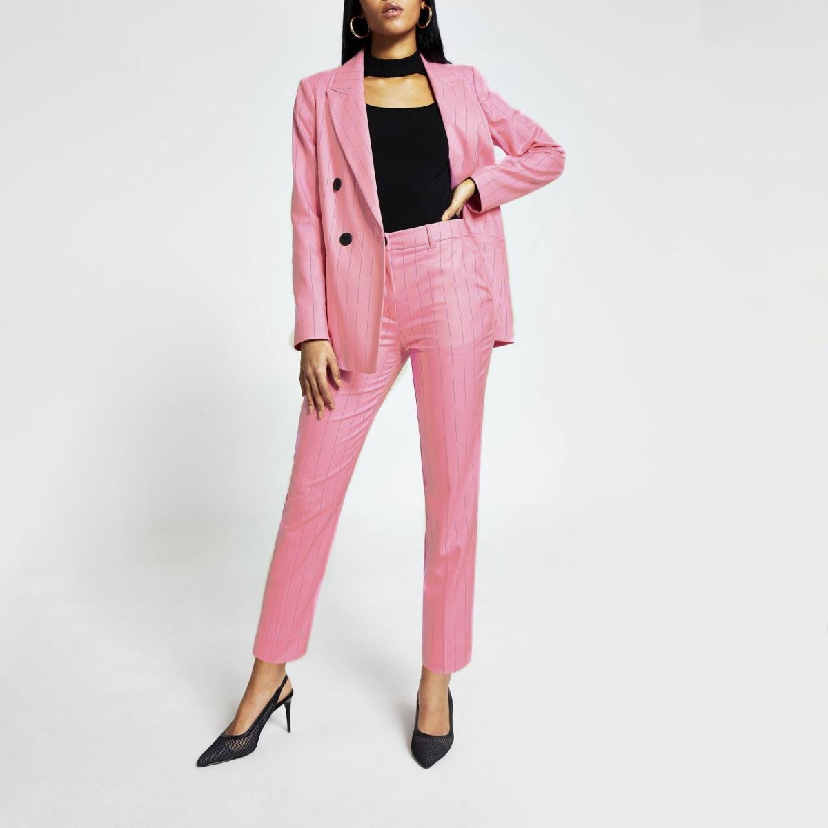 Pantalon cigaretteà fines rayures rose