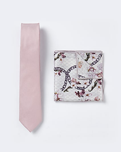Pink plain tie floral handkerchief set