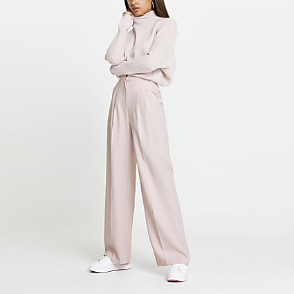Pink pleat front straight trousers