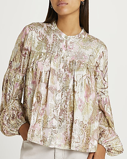 Pink pleated detail blouse