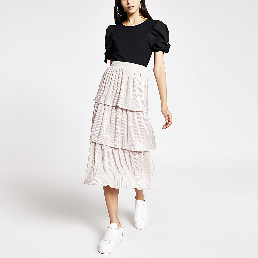 Pink pleated jersey frill midi skirt