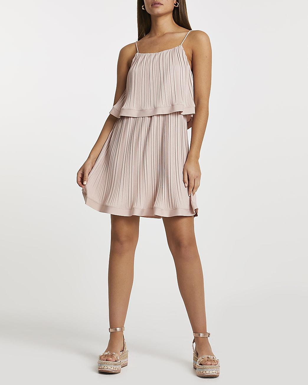 Pink pleated layered mini dress