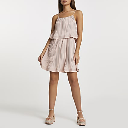 Pink pleated layered mini dress