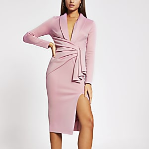 Pink plunge midi bodycon dress