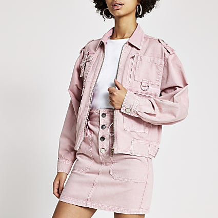 Pink pocket front denim biker jacket