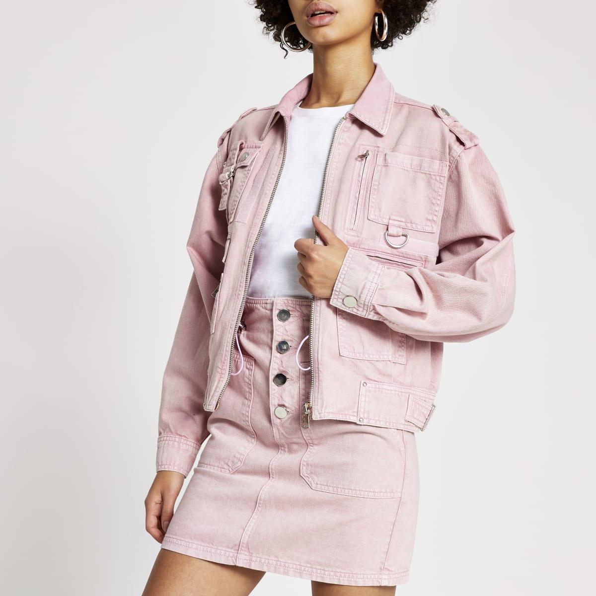 Pink pocket front denim biker jacket