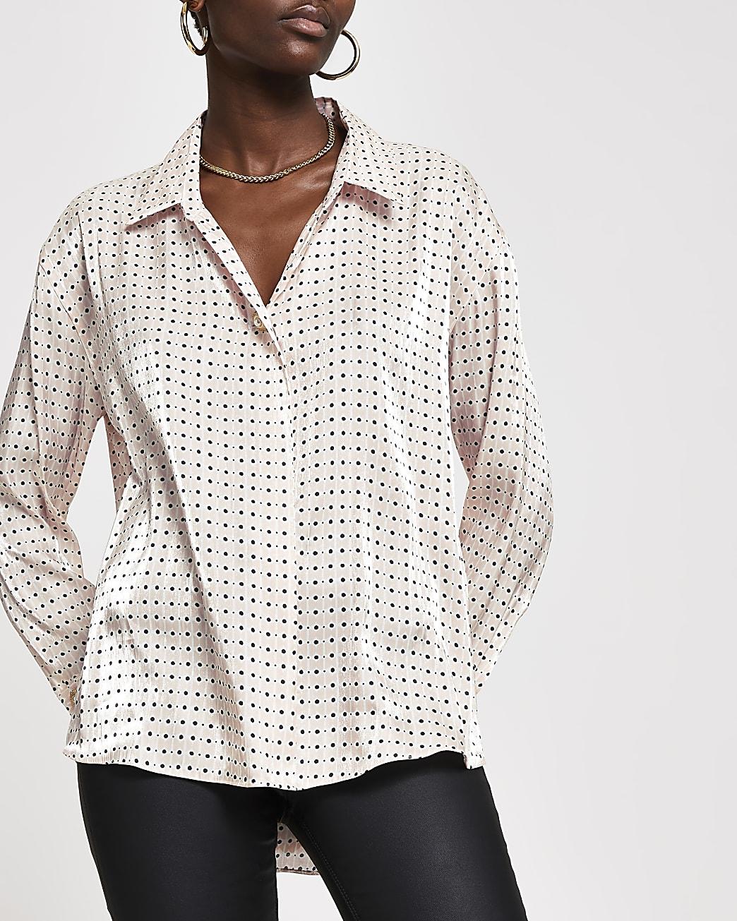 Pink polka dot long sleeve satin shirt
