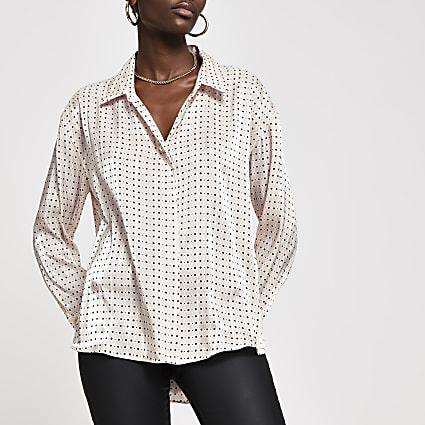 Pink polka dot long sleeve satin shirt