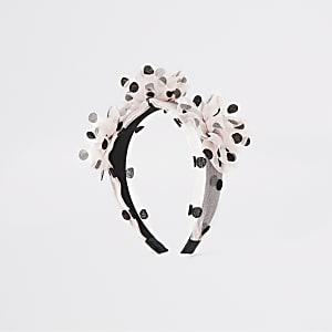 Pink polka dot organza flower headband