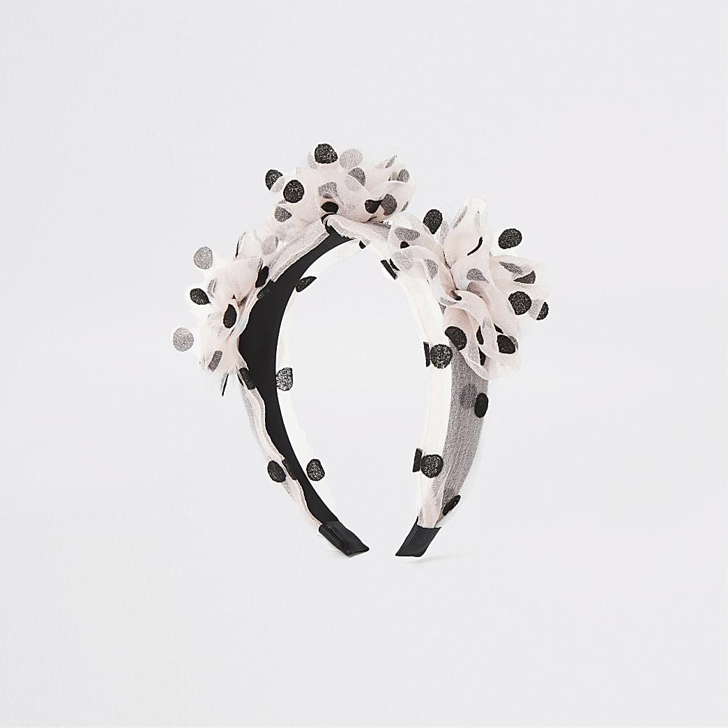 Roze haarband met stippen en organza bloemen